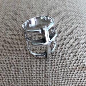 Pamela Love sterling silver cross ring. Size 6